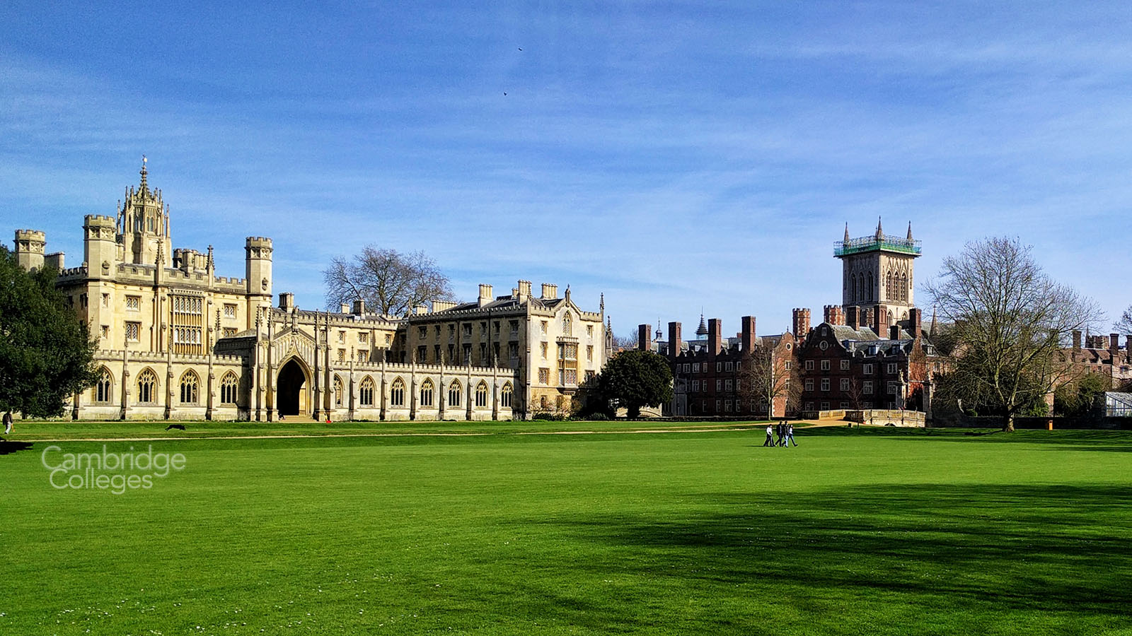 St Johns college Cambridge, Showing the New Court, old court and chapel tower
