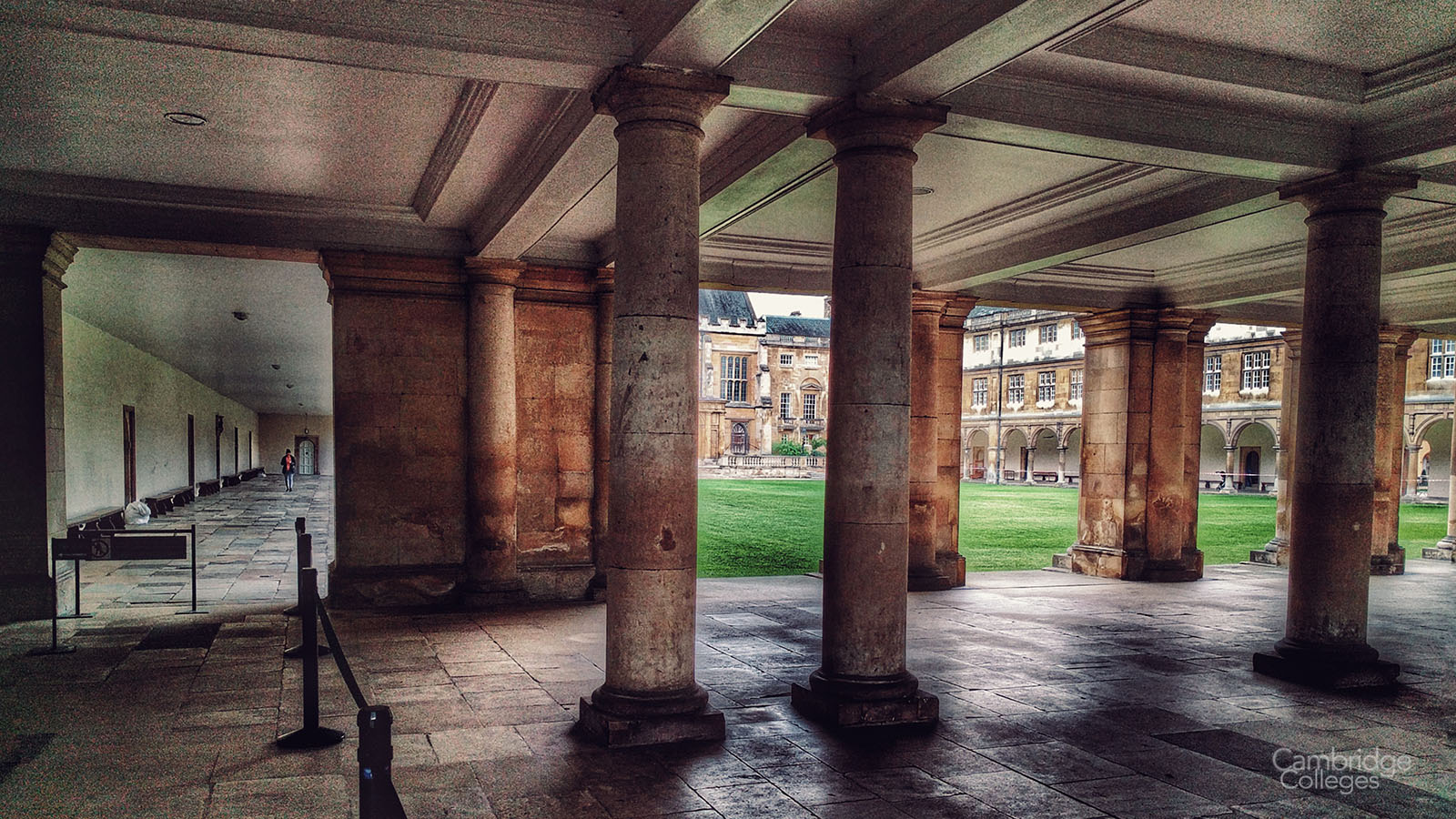 The open cloister underneath the Wren library