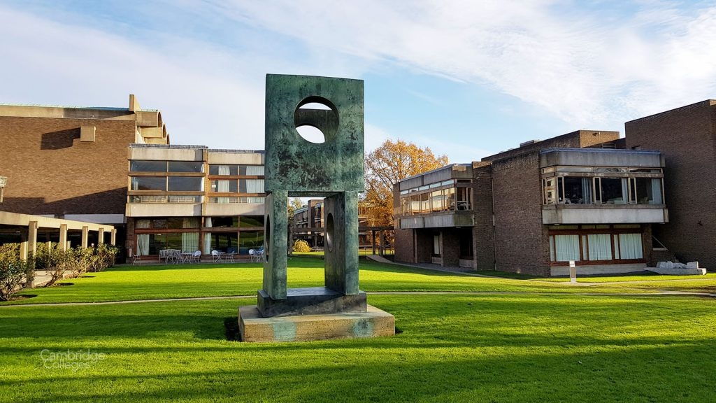 A sculpture in the grounds of Churchill college
