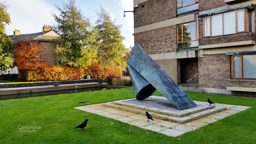 A sculpture outside the main entrance of Churchill college, Cambridge
