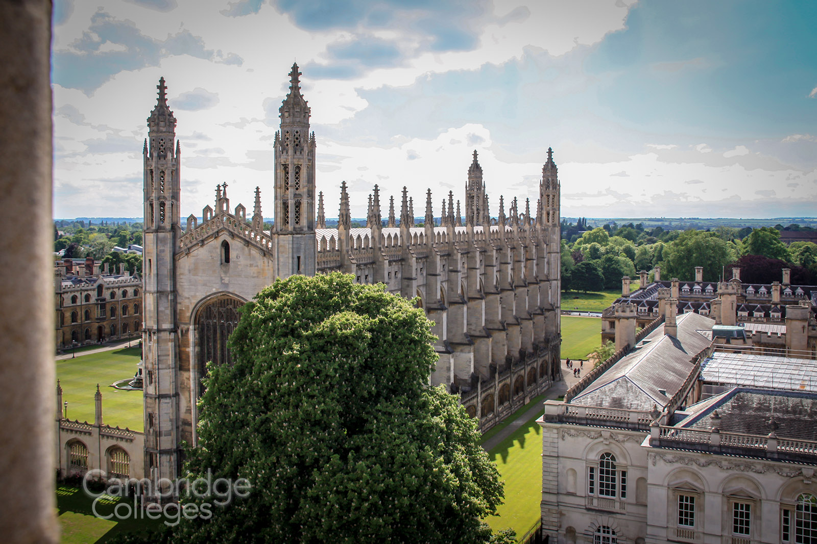 King's college chape as viewed from the tower of Great St Mary's church