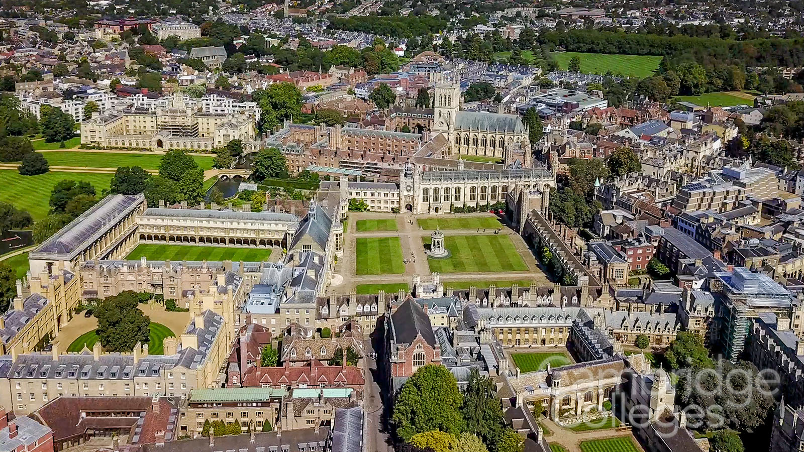 A bird's eye view of Trinity college, Cambridge