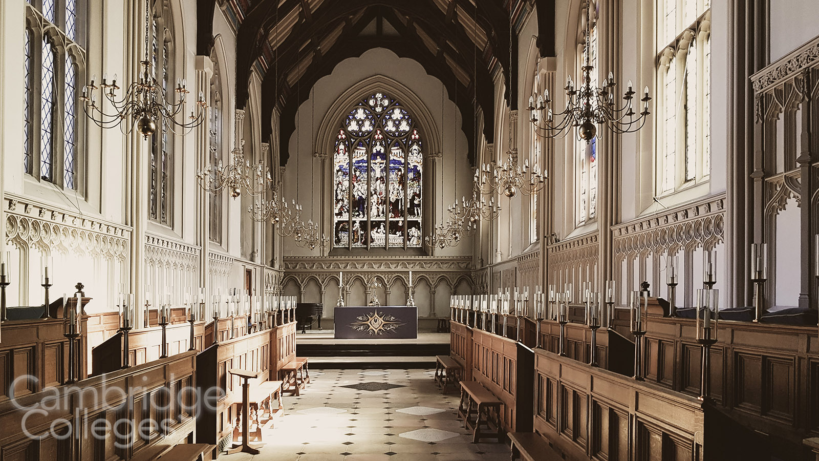 Inside the chapel of Corpus Christi college, Cambridge