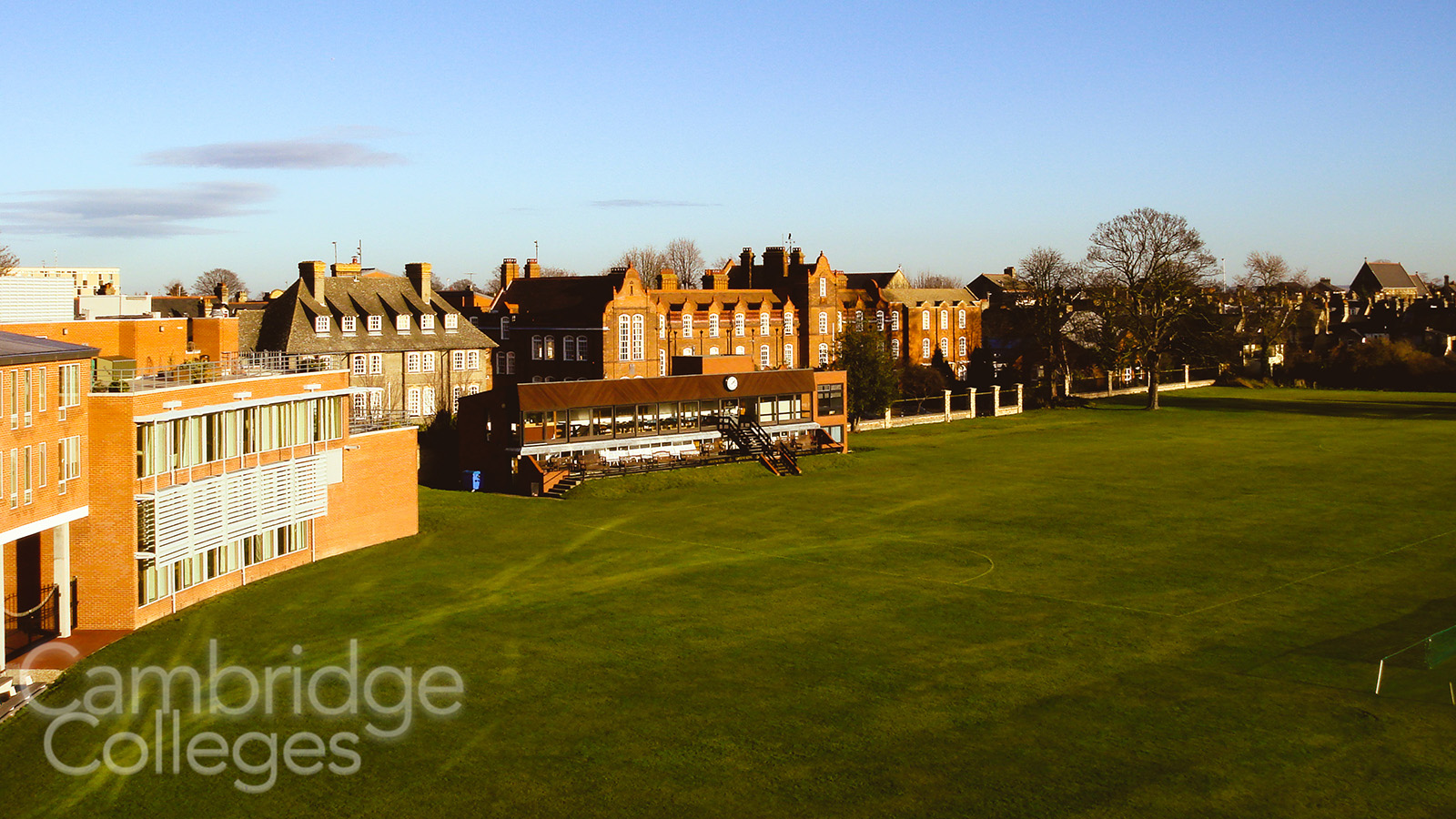 Hughes Hall overlooking Fenner's cricket ground, Cambridge