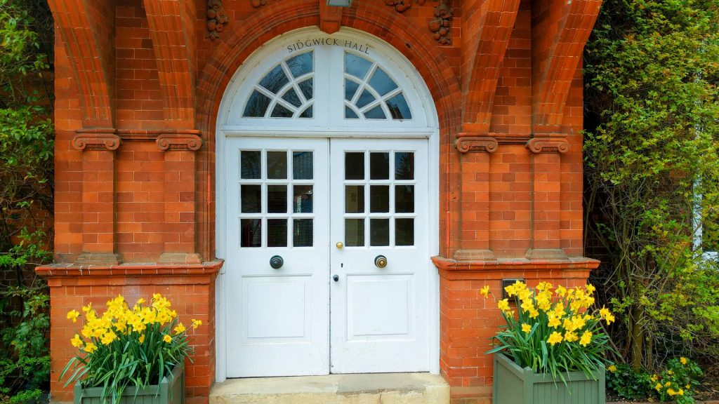 An entrance to Sidgwick Hall, Newnham College