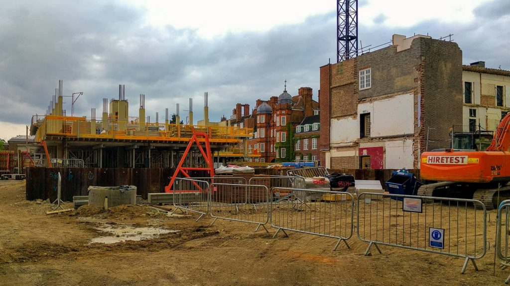 Construction of the Dorothy Garrod building in 2016 at Newnham